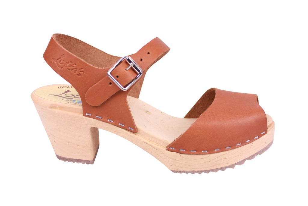 Lotta From Stockholm Highwood Open Clog in Tan Leather Seconds side
