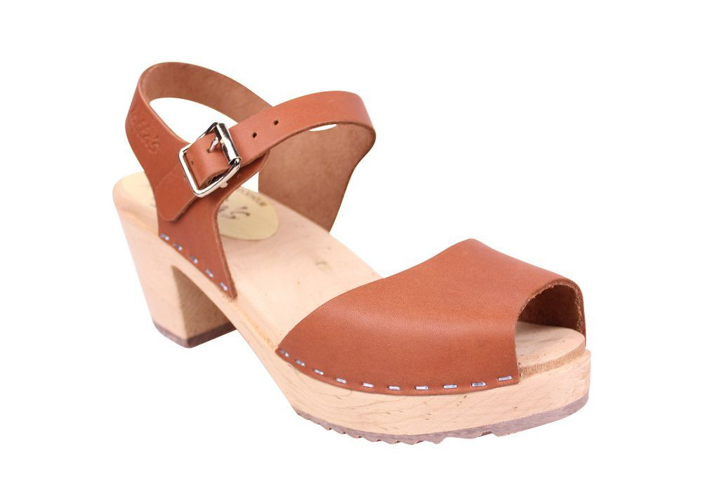 Lotta From Stockholm Highwood Open Clog in Tan Leather Seconds main
