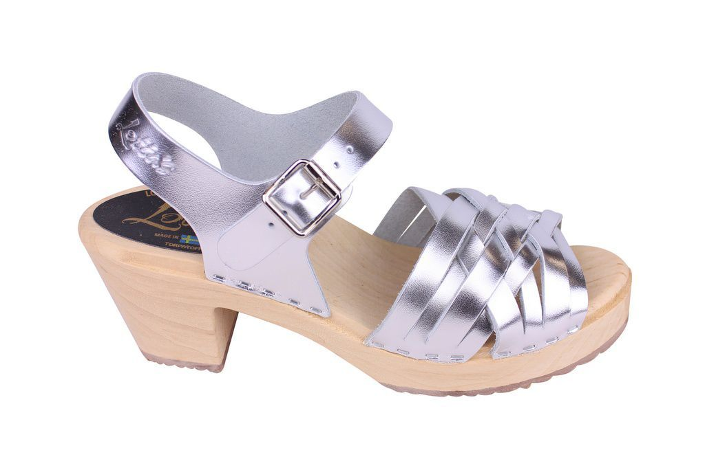 Lotta From Stockholm High Heel Braided Clogs in Silver Leather side 2