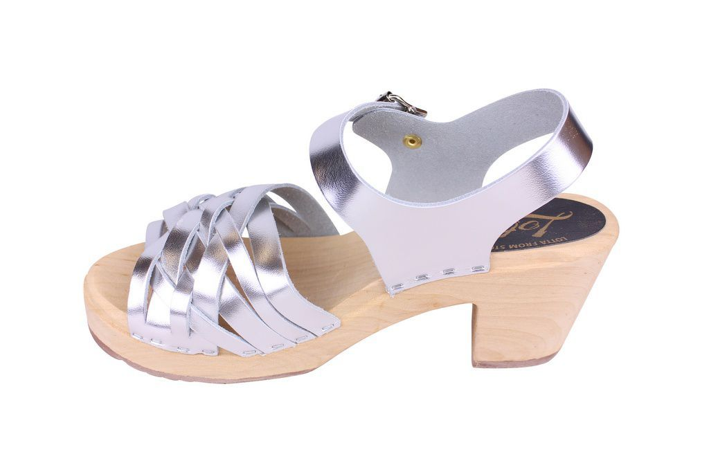 Lotta From Stockholm High Heel Braided Clogs in Silver Leather rev side 2