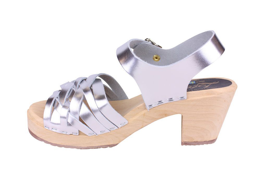 Lotta From Stockholm High Heel Braided Clogs in Silver Leather Rev side