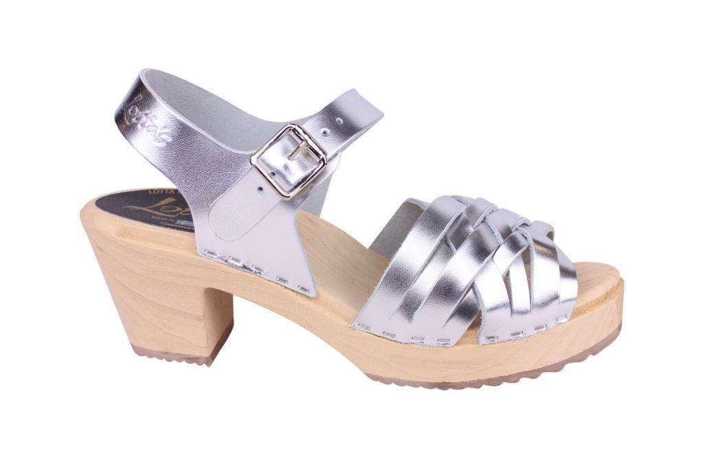 Lotta From Stockholm High Heel Braided Clogs in Silver Leather Side