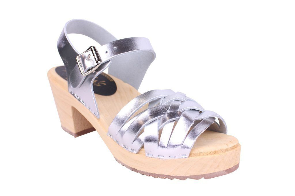Lotta From Stockholm High Heel Braided Clogs in Silver Leather Main 2