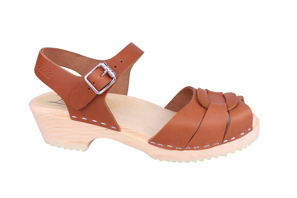 Lotta From Stockholm Low Heel Peep Toe in Tan Leather Side