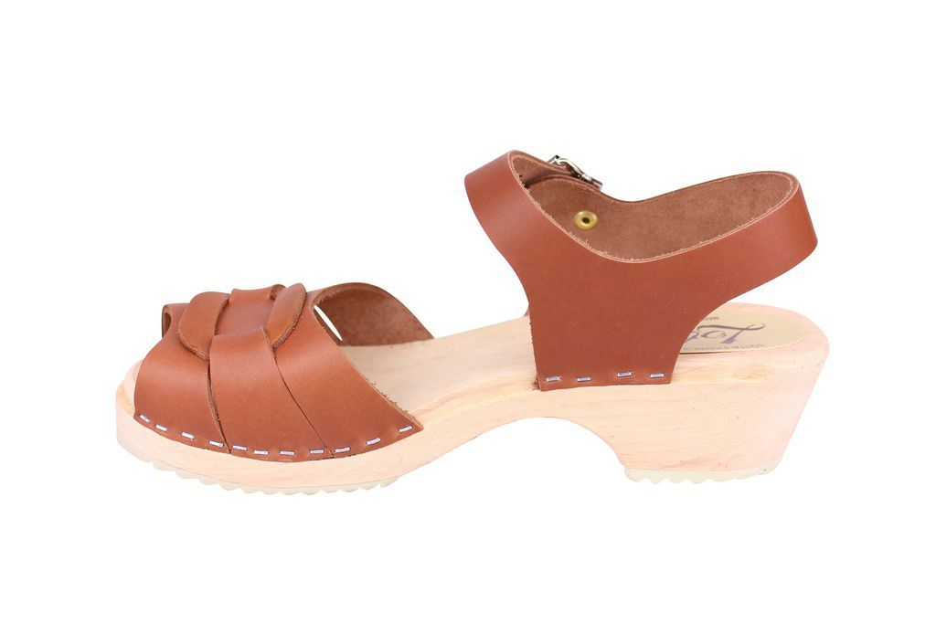 Lotta From Stockholm Low Heel Peep Toe in Tan Leather Rev SIde