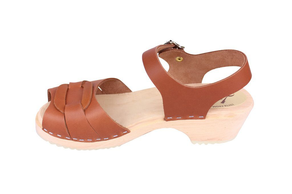 Lotta From Stockholm Low Heel Peep Toe in Tan Leather rev Side 2