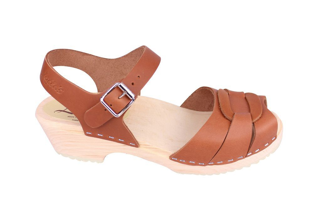 Lotta From Stockholm Low Heel Peep Toe in Tan Leather Side 2