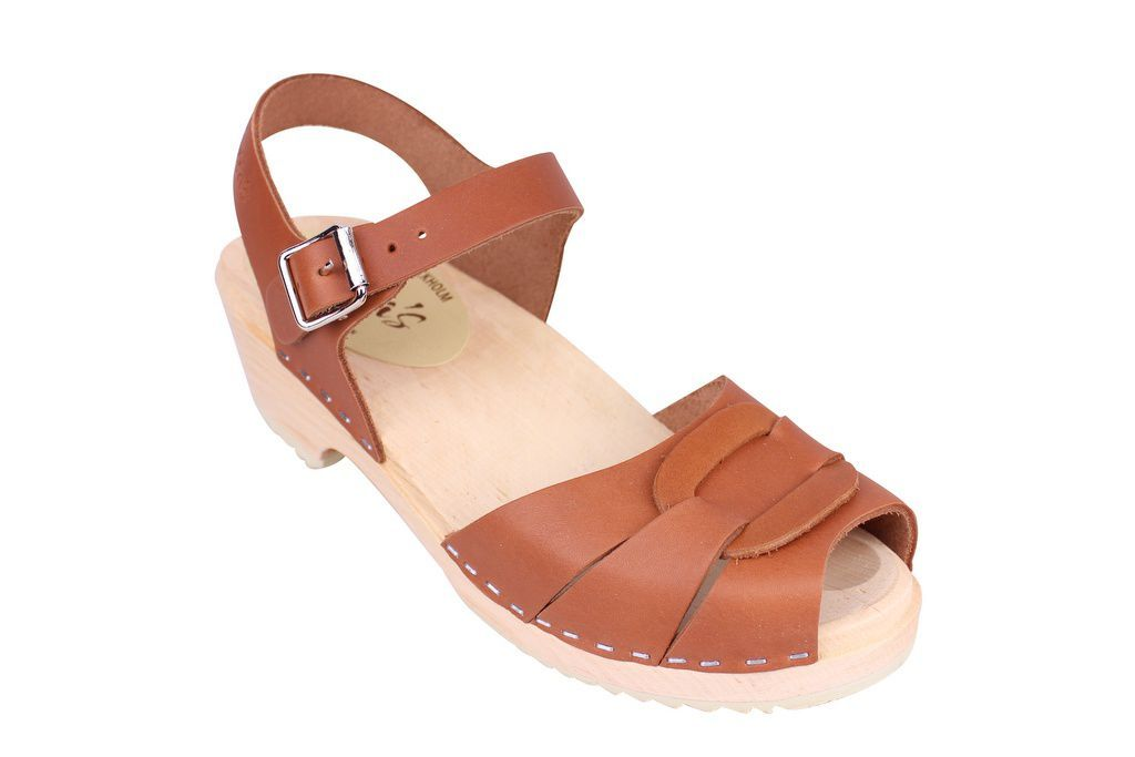 Lotta From Stockholm Low Heel Peep Toe in Tan Leather Main