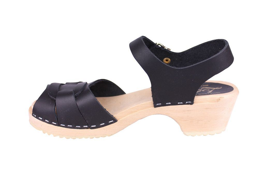 Lotta From Stockholm Low Heel Peep Toe in Black Leather rev side