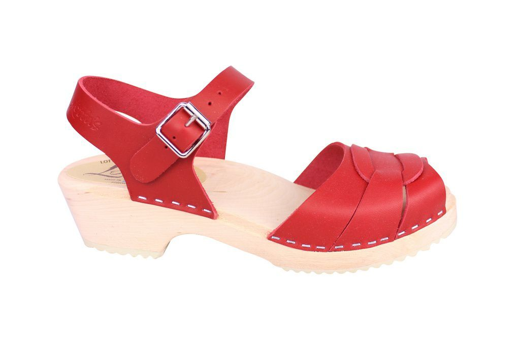 Lotta From Stockholm Low Heel Peep Toe Clog in Red Leather Side
