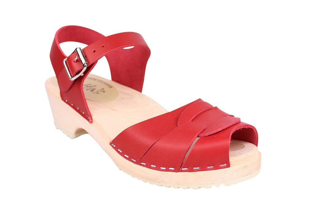 Lotta From Stockholm Low Heel Peep Toe in Red Leather Main 2