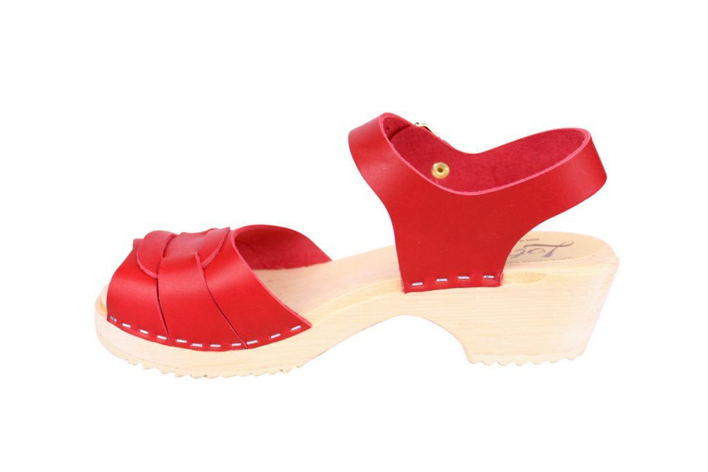 Lotta From Stockholm Low Heel Peep Toe in Red Leather rev side 2