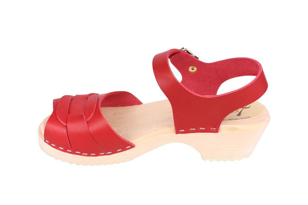 Lotta From Stockholm Low Heel Peep Toe Clog in Red Leather rev side 2