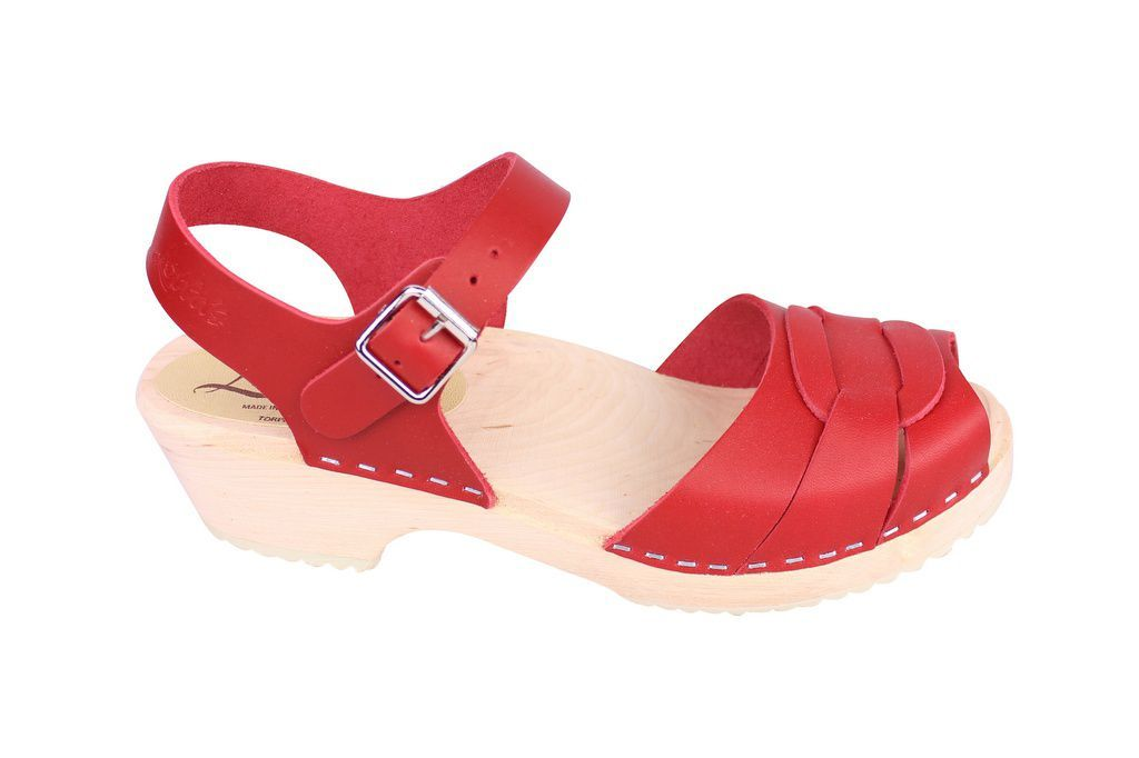 Lotta From Stockholm Low Heel Peep Toe Clog in Red Leather Side 2