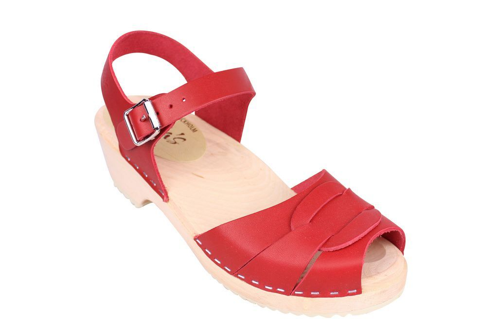 Lotta From Stockholm Low Heel Peep Toe Clog in Red Leather Main