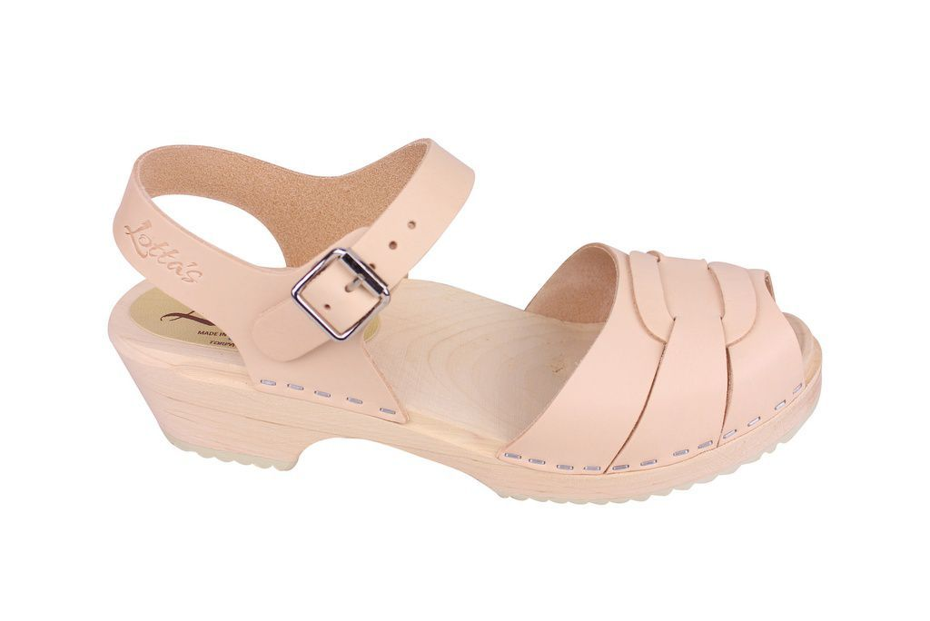 Lotta From Stockholm Low Peep Toe in Natural Leather Side 2