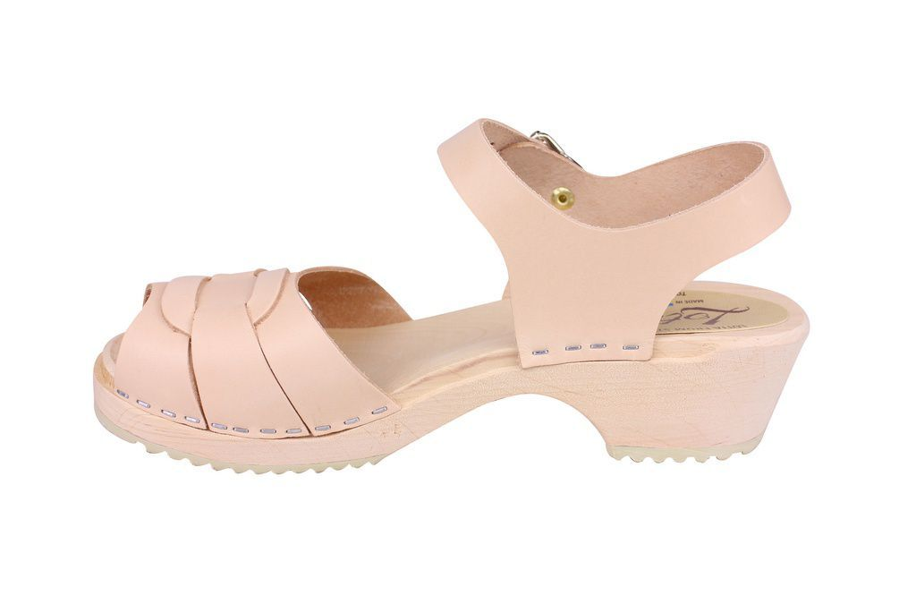 Lotta From Stockholm Low Peep Toe in Natural Leather Rev Side