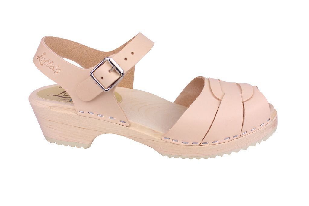 Lotta From Stockholm Low Peep Toe in Natural Leather Side