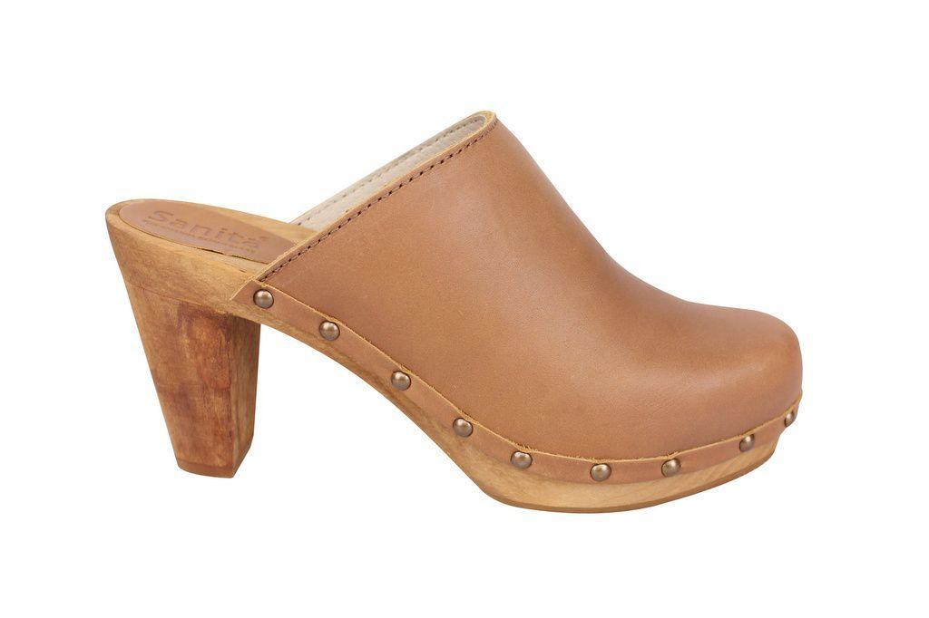 Sanita High Heel Slip on Clog Tan side