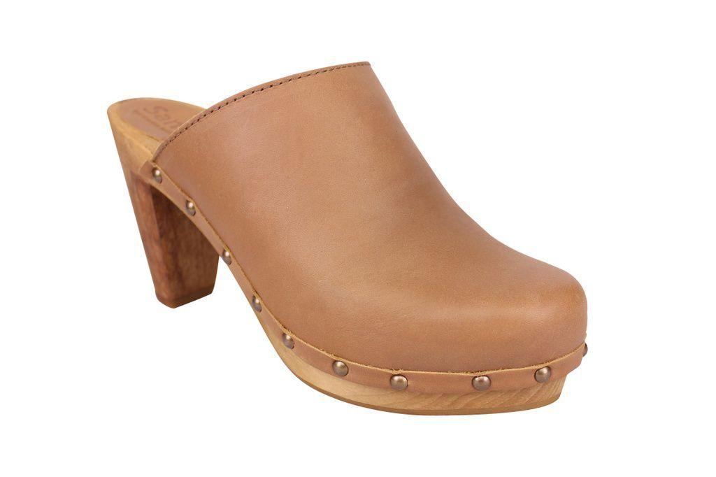 Sanita High Heel Slip on Clog Tan main