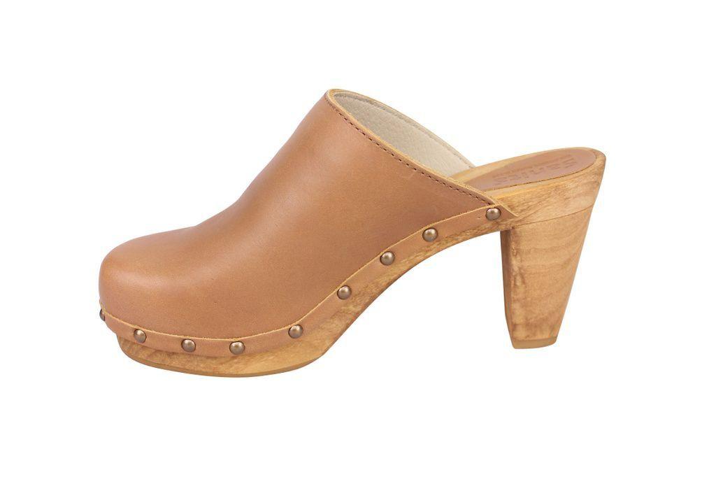 Sanita High Heel Slip on Clog Tan rev side