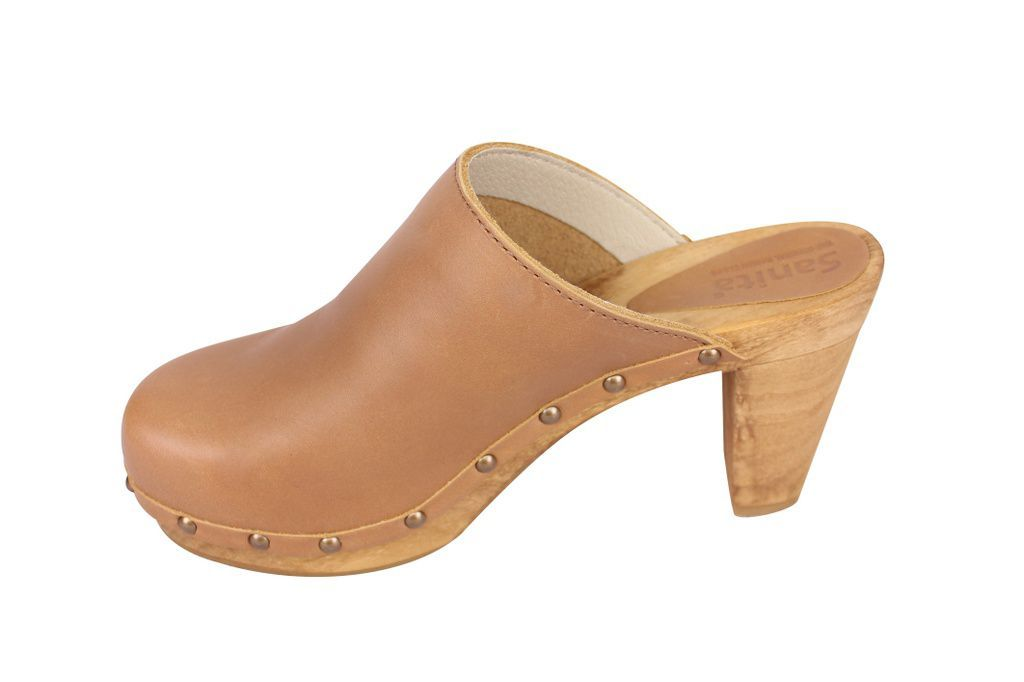 Sanita High Heel Slip on Clog Tan rev side 2