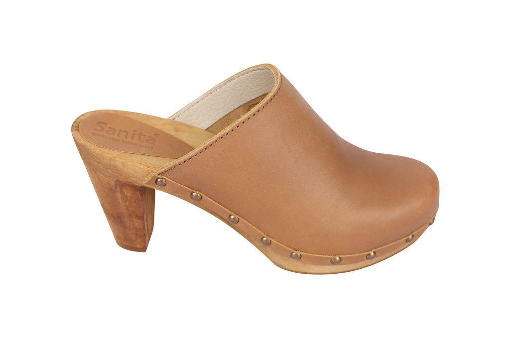 Sanita High Heel Slip on Clog Tan side 2