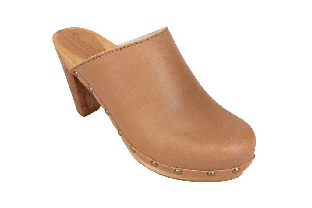 Sanita High Heel Slip on Clog Tan