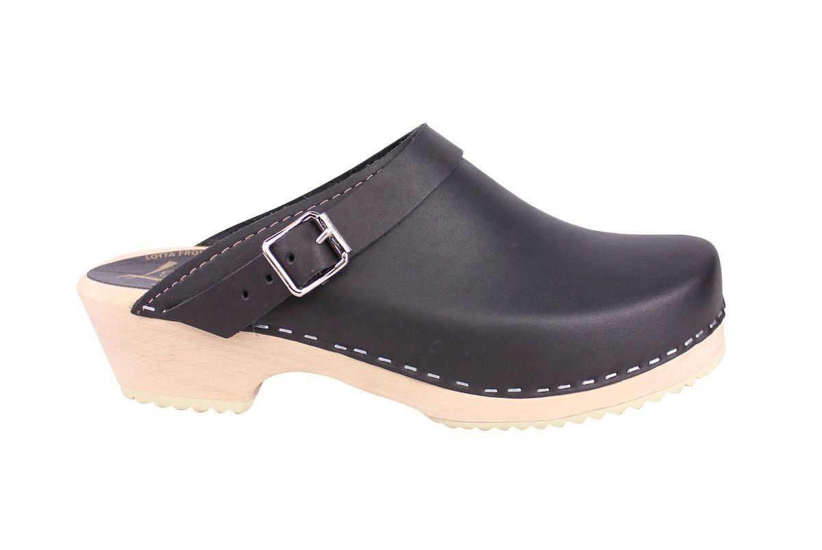 Classic Black Leather Clogs with Strap side