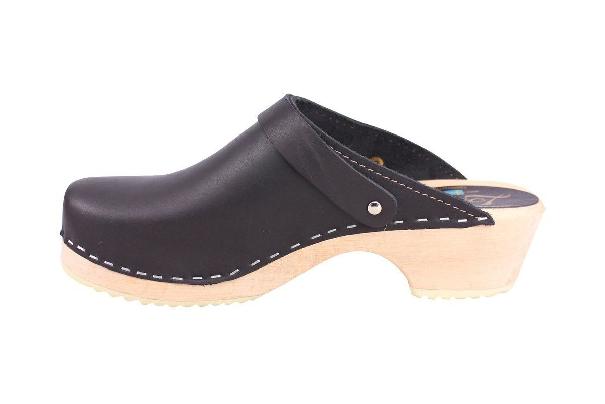 Classic Black Leather Clogs with Strap rev side