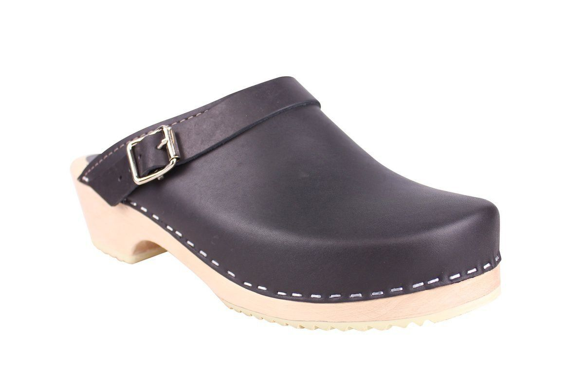 Classic Black Leather Clogs with Strap main
