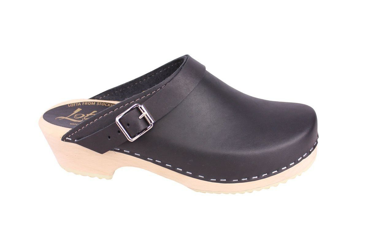 Classic Black Leather Clogs with Strap side 2