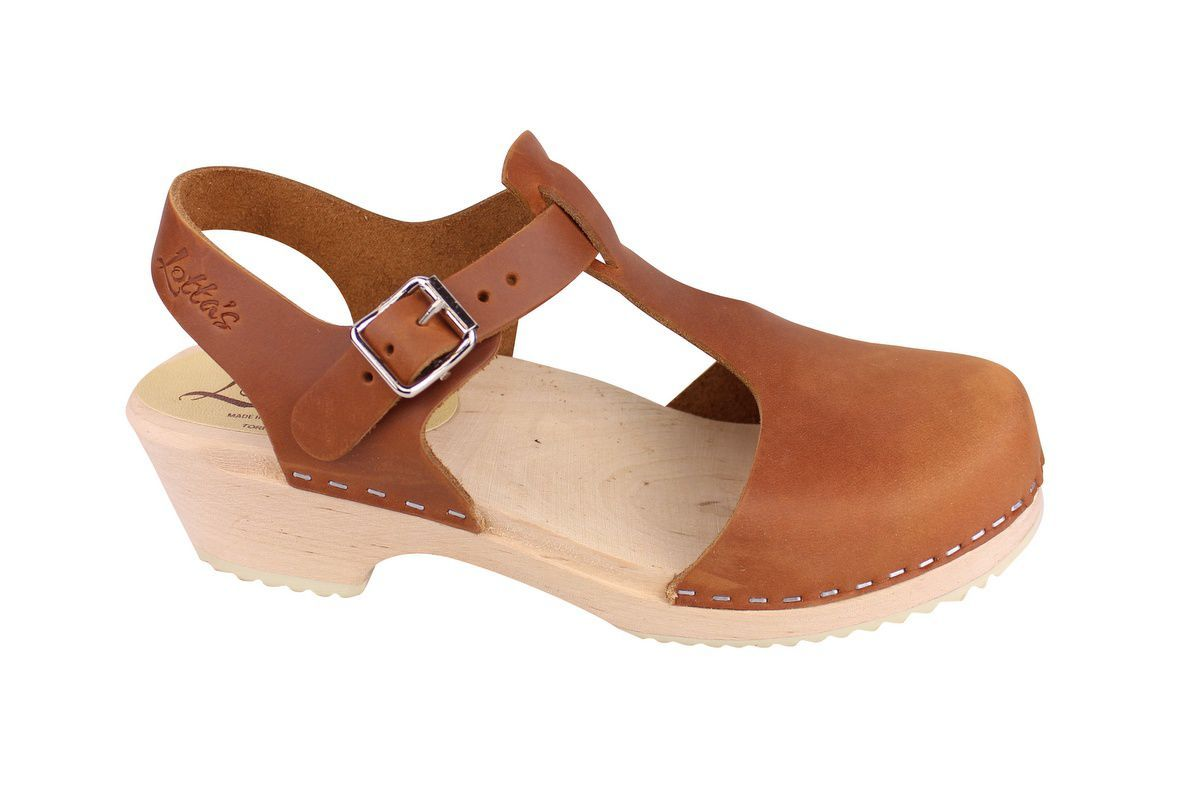 Low wood T-bar brown oiled nubuck clogs side 2