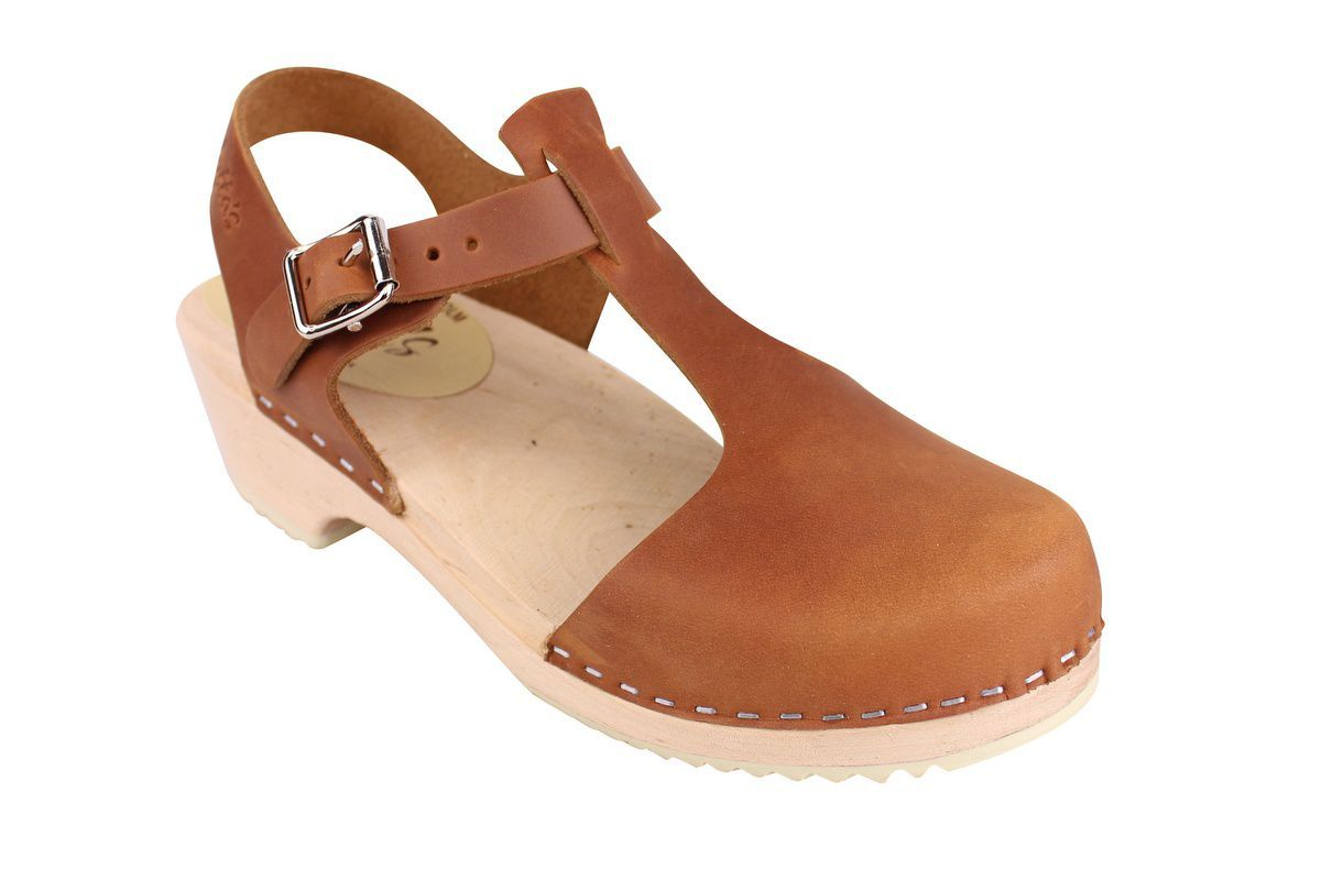 Low wood T-bar brown oiled nubuck clogs