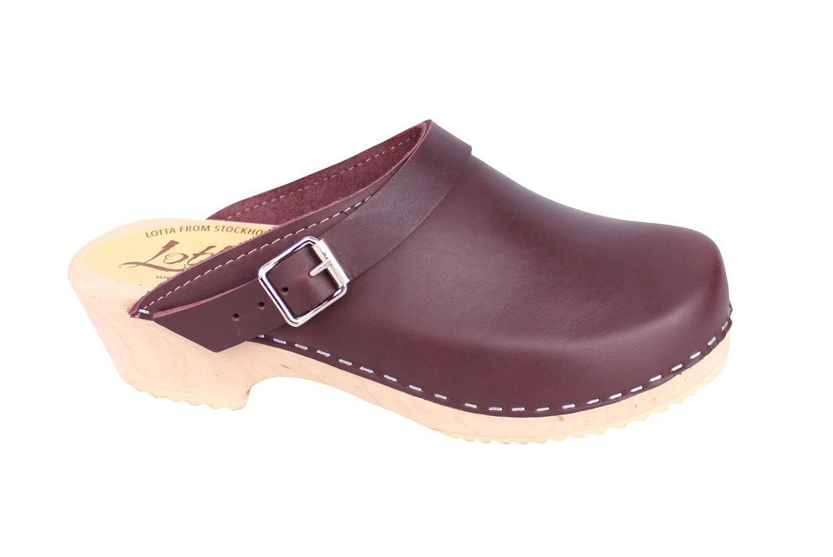 Classic Aubergine Leather Clogs with Strap side 2