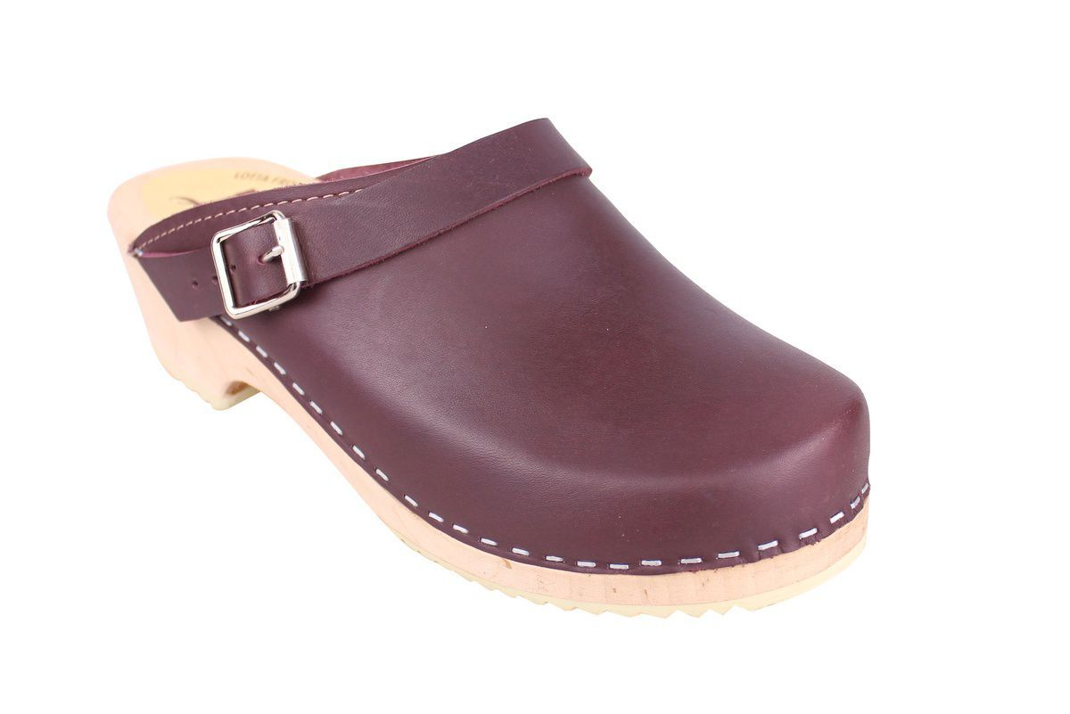 Classic Aubergine Leather Clogs with Strap
