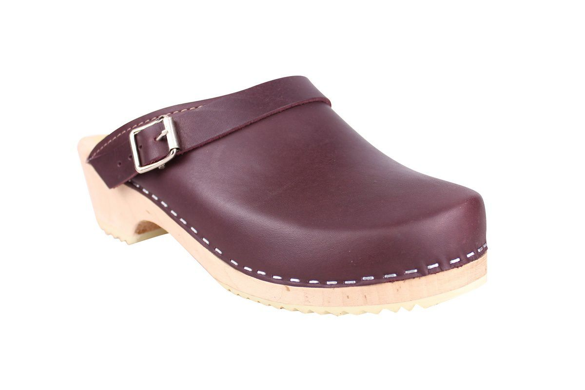 Classic Aubergine Leather Clogs with Strap main