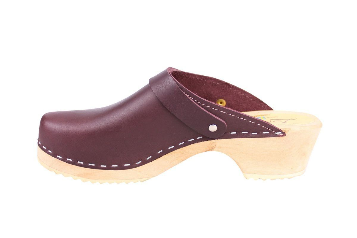 Classic Aubergine Leather Clogs with Strap rev side