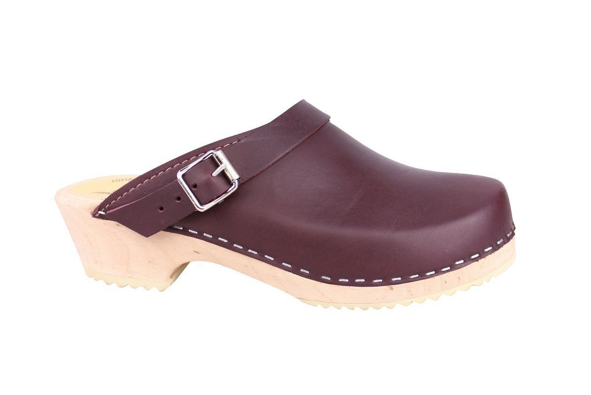 Classic Aubergine Leather Clogs with Strap side