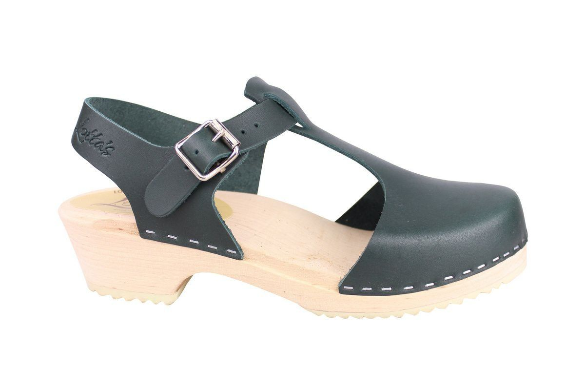 Low wood T-Bar Clogs Dark Green side