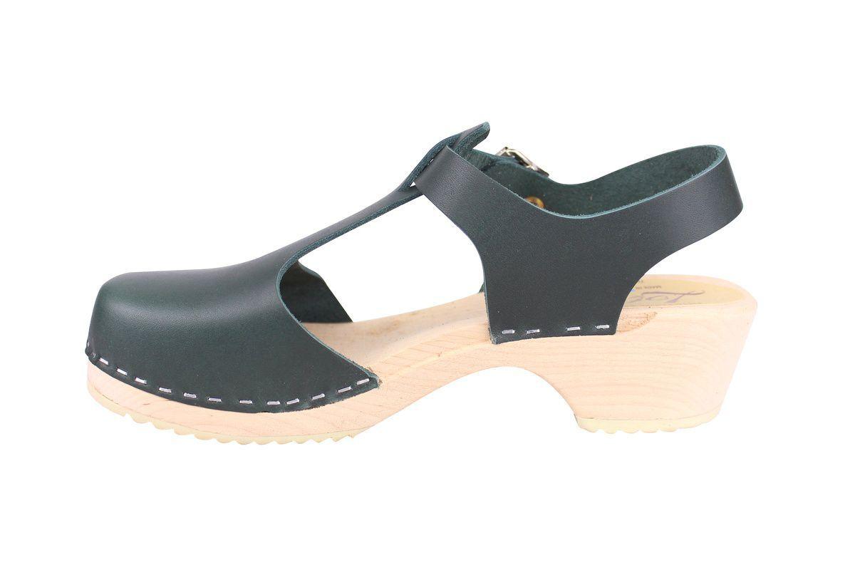 Low wood T-Bar Clogs Dark Green rev side