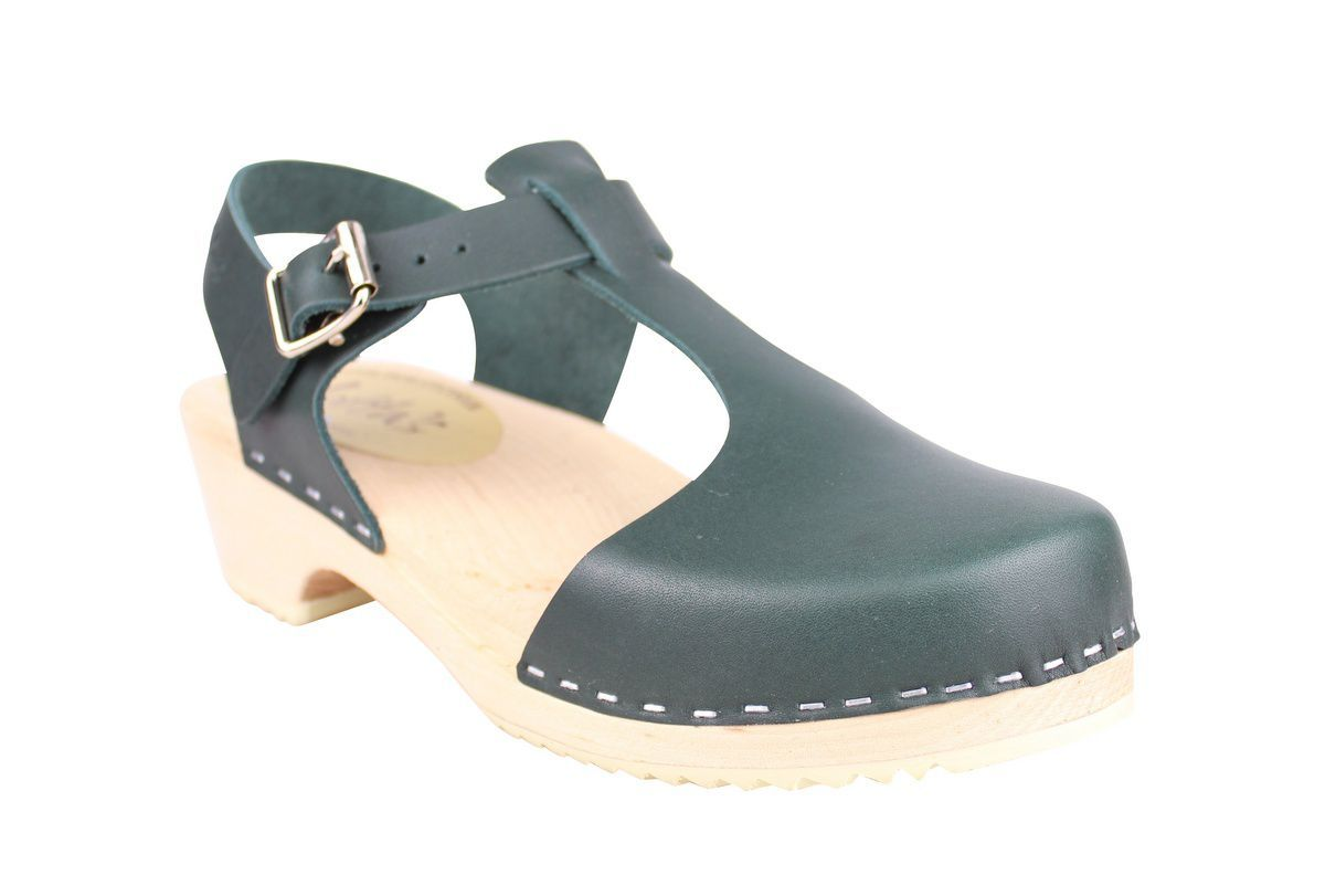 Low wood T-Bar Clogs Dark Green main