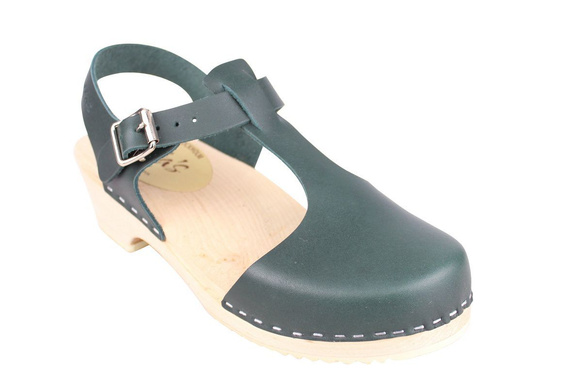 Low wood T-Bar Clogs Dark Green