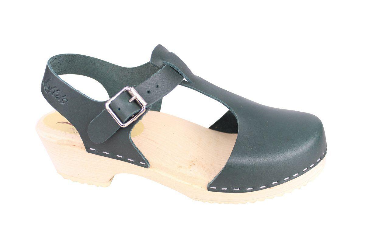 Low wood T-Bar Clogs Dark Green side 2