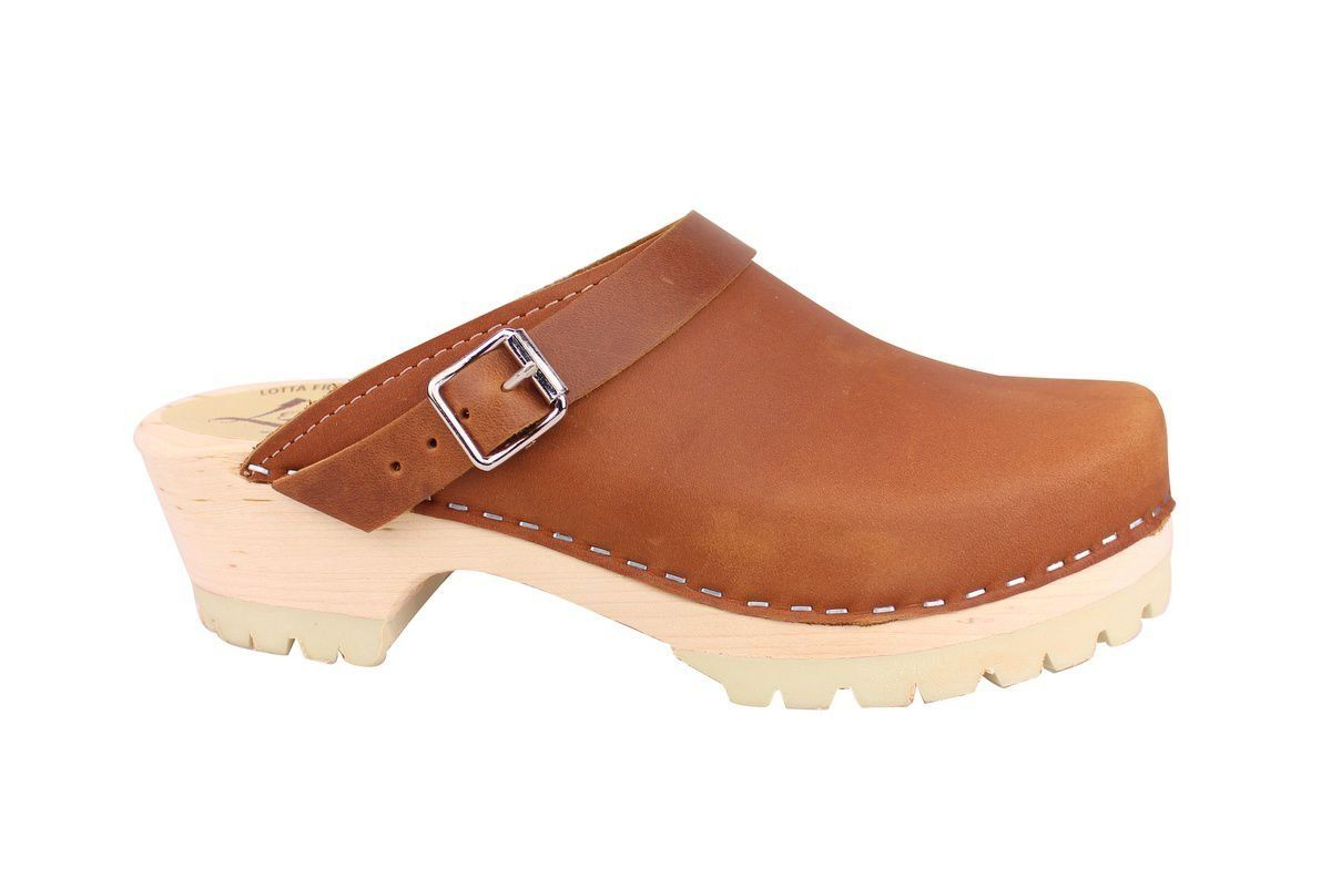 Classic Brown oiled nubuck clogs with strap and tractor sole side