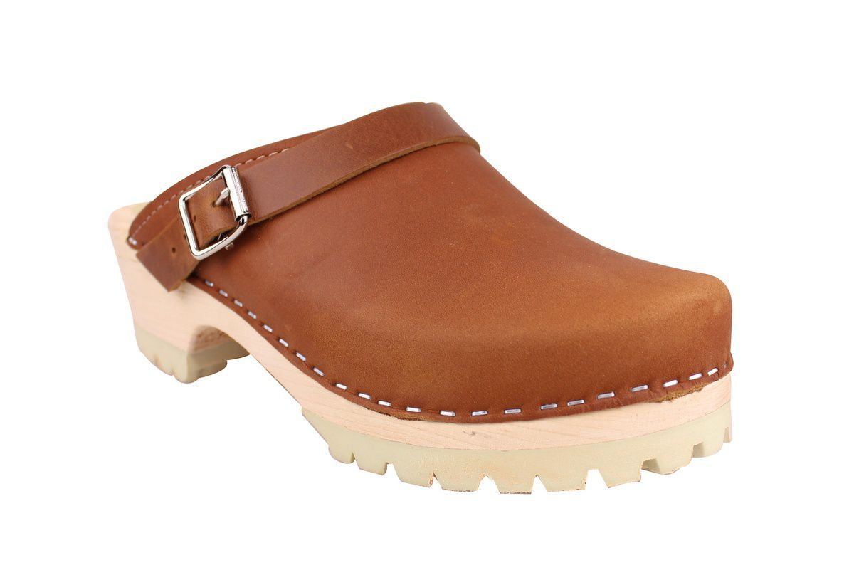 Classic Brown oiled nubuck clogs with strap and tractor sole main
