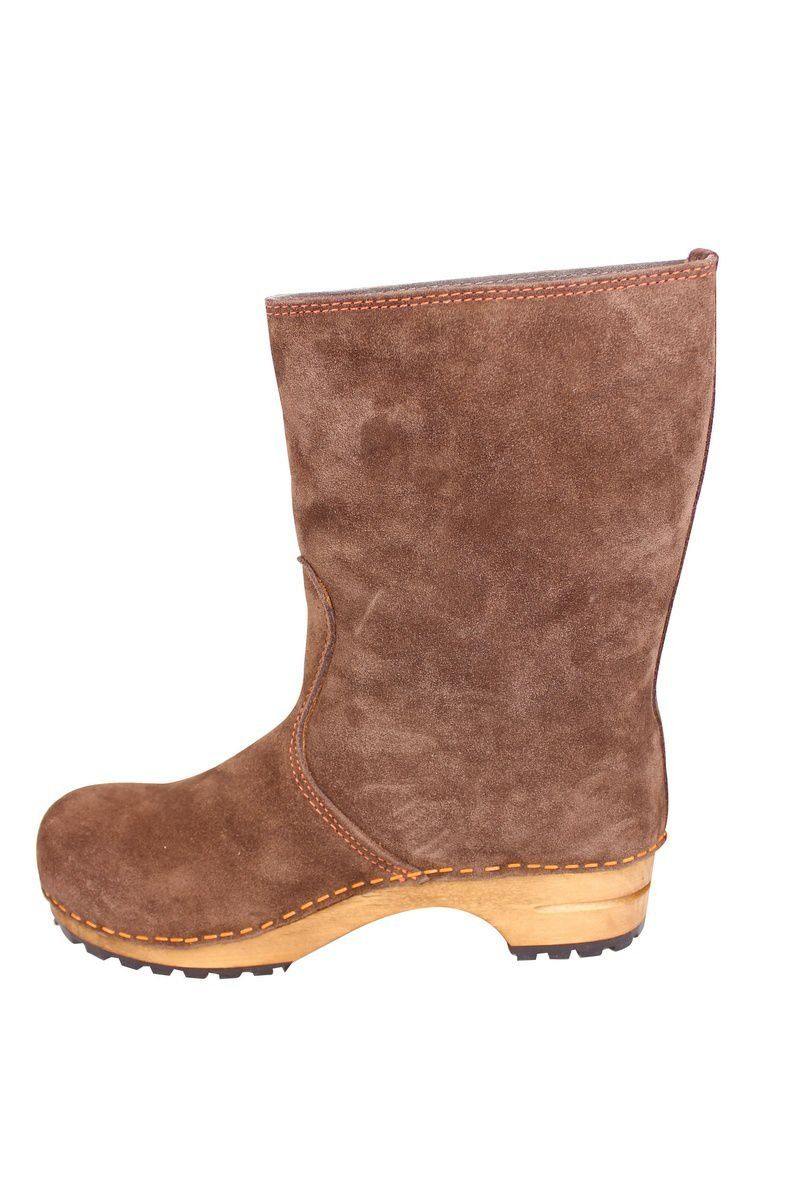 Sanita Charlotta Clog boot in brown rev side