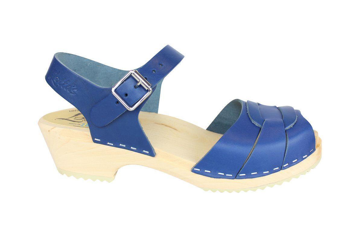 Low Peep Toe Ocean Blue side