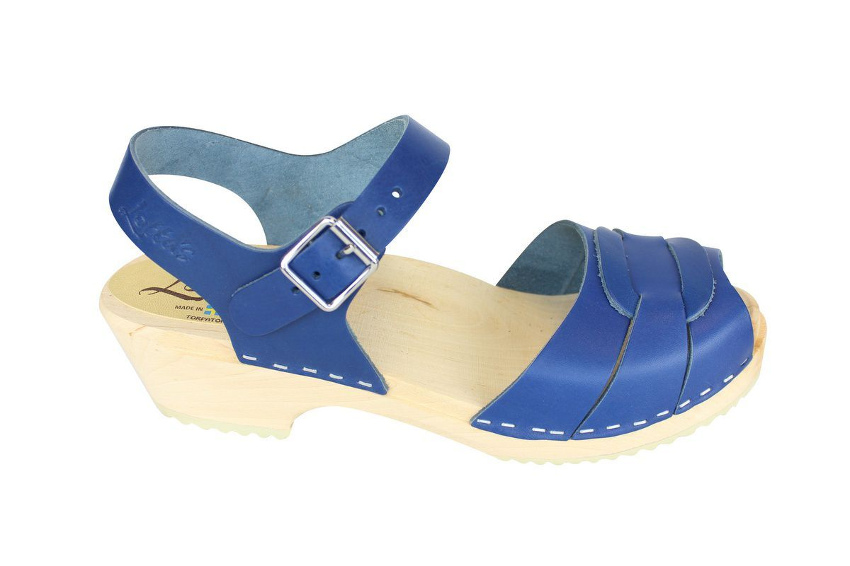 Low Peep Toe Ocean Blue side 2