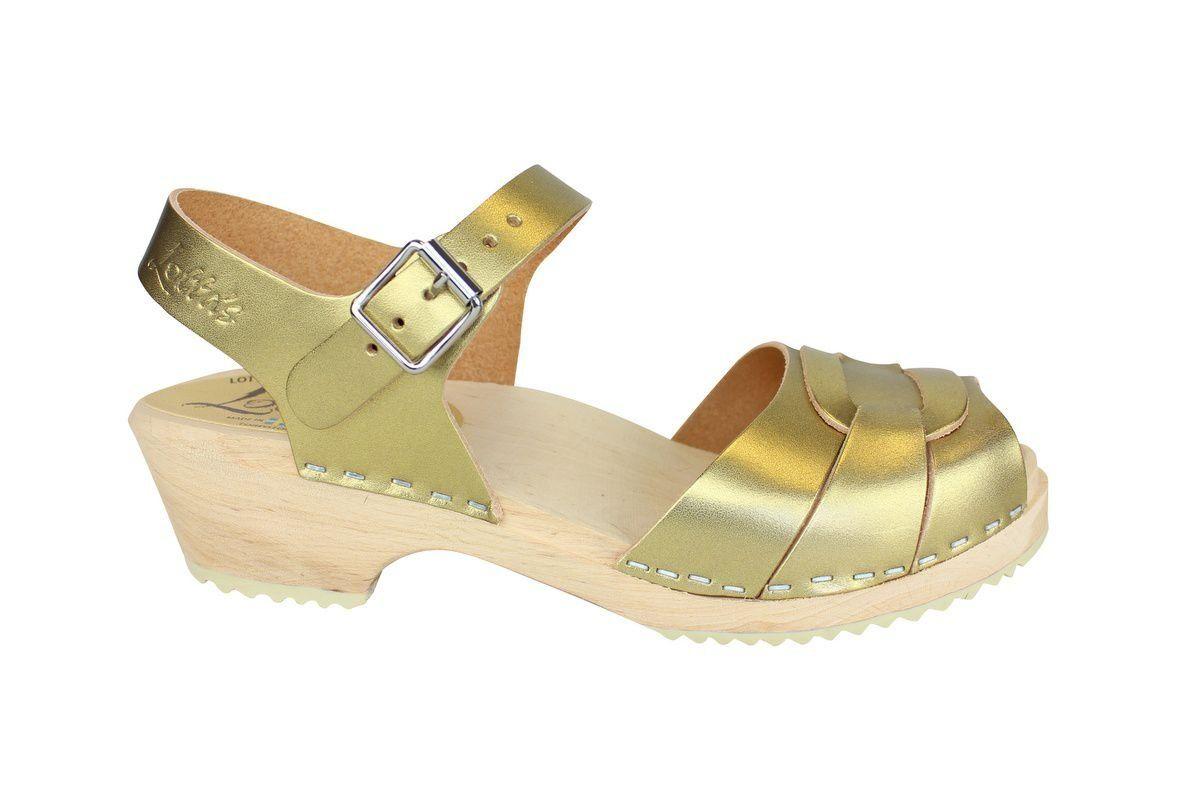 Low Peep Toe Clogs Antique Golds side